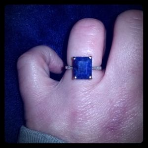 Rough cut sapphire ring sz 6